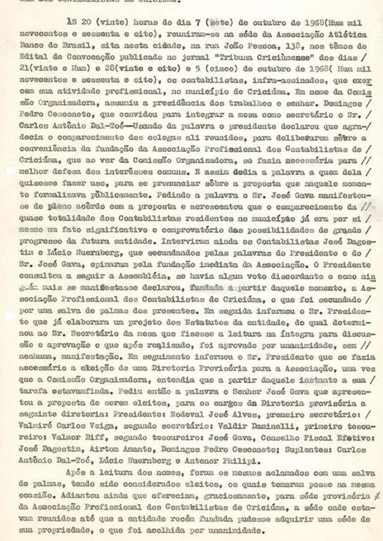 Ata fundação da Associação Profissional dos Contabilistas de Criciúma
