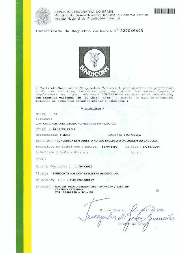 Certificado de registro da marca Sindicont no Instituto Nacional de Propriedade Industrial